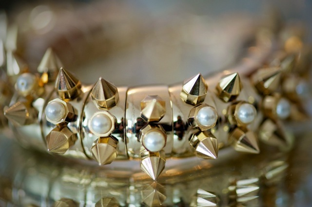 Rock chics eat your heart out.  This surely must be THE bracelet to be seen in.  From a collection by Maria Francesca Pepe Ltd.