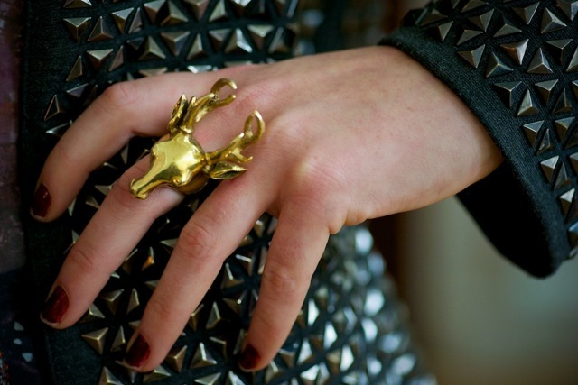 The assistant at the Felder and Felder stand shows off another key item of the season, a bold statement ring (check out Bex Rox for similar items)
