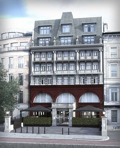 The original entrance at Hyde Park Corner; until recently, the building was a pizza restaurant, and is now being converted into a new hotel, The Wellesley, a render of which is pictured here.