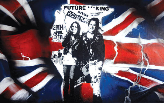 William And Kate Punk Mural On Southbank