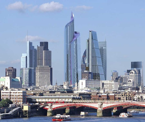 London's future skyline; The Pinnacle is in the centre