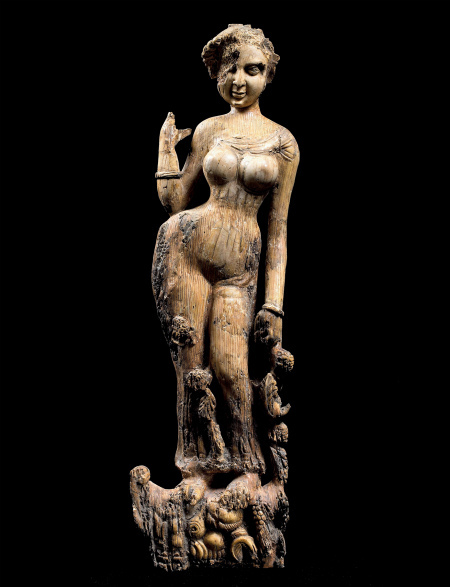 Statuette of a woman standing on a makara, possibly a furniture ornament, National Museum of Afghanistan © Thierry Ollivier / Musée Guimet