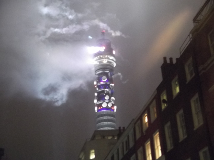 BT Tower Lit Up With Olympic Fireworks