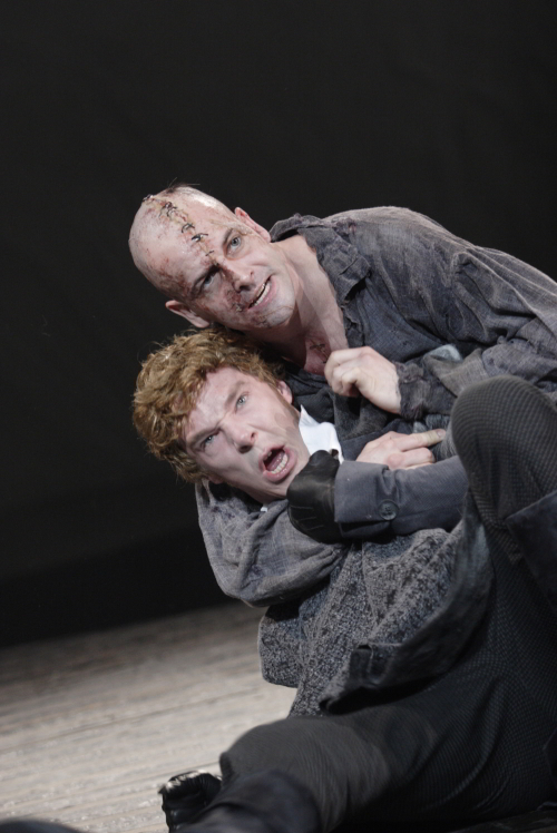 Jonny Lee Miller - The Creature, Benedict Cumberbatch - Victor Frankenstein / photo by Catherine Ashmore