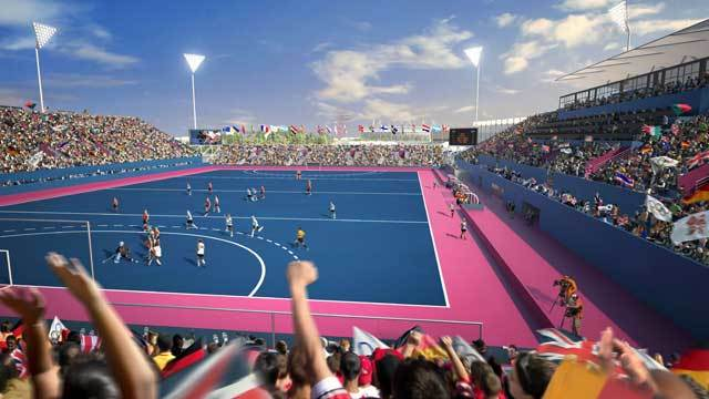 An artist's impression of the Hockey Centre as it might look during the London 2012 Hockey competitions. Image by Populous.