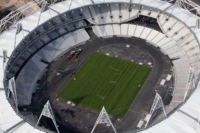 Olympic Park. Aerial view of the Olympic Stadium with a newly turfed event field. Picture taken on 24 Mar 11 by Anthony Charlton.