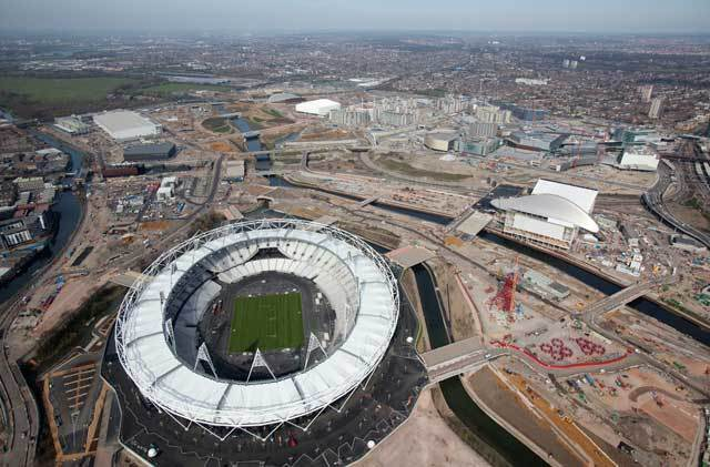 Aerial view of the Olympic Stadium with a newly turfed event field. Picture taken on 24 Mar 11 by Anthony Charlton.