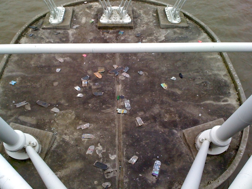 The Skateboard Graveyard Of Hungerford Bridge