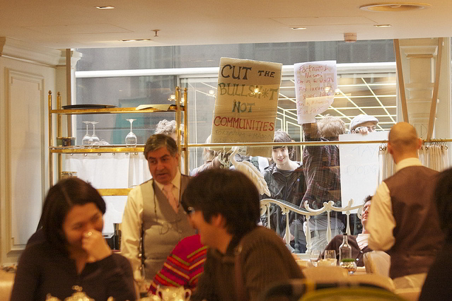 Peep O'Daze nipped into Fortnum and Mason for tea en route to Hyde Park - before the UK Uncut occupation / from the Londonist Flickr pool