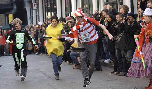 Where's Wally leads the field at Great Spitalfields Pancake Race by olliepix