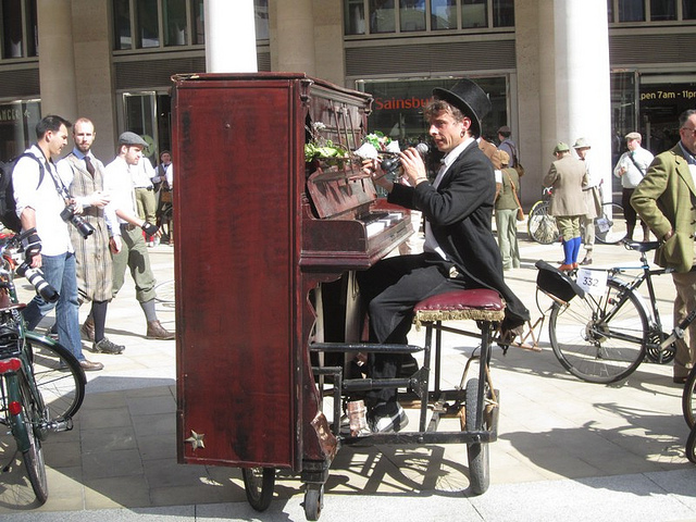 Piano playing bicycle by John Wilkes