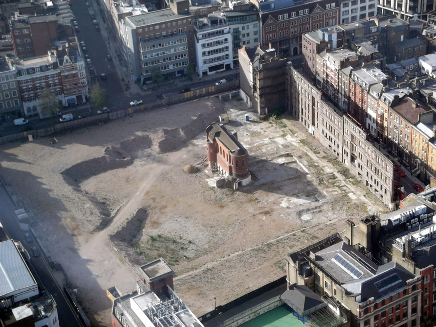 The former Middlesex Hospital site looks surreal from on high.