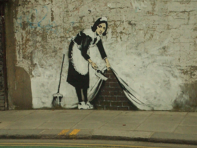 The Banksy maid...swept away long ago.