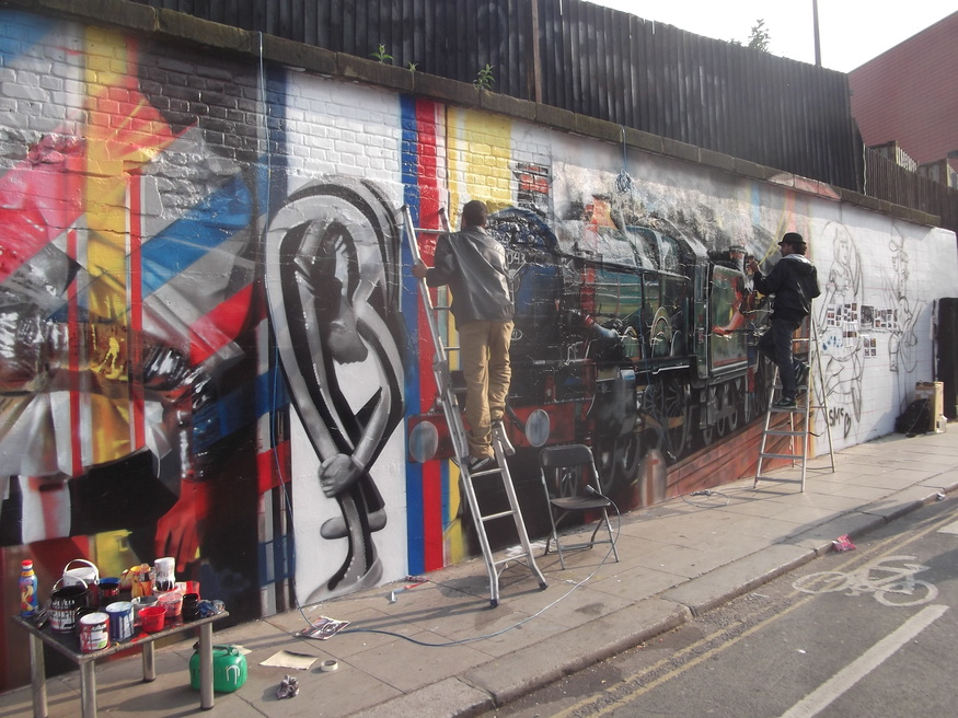 Street art new mural for former banksy wall londonist for Banksy mural painted over