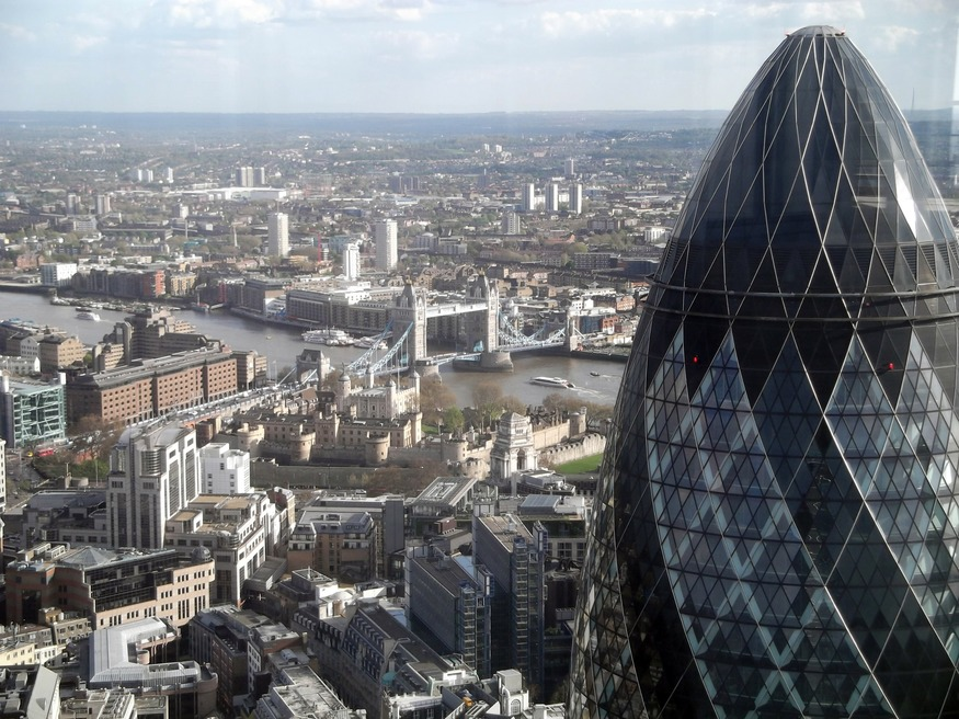 There aren't many locations from which you can photograph the Gherkin and Tower Bridge together.