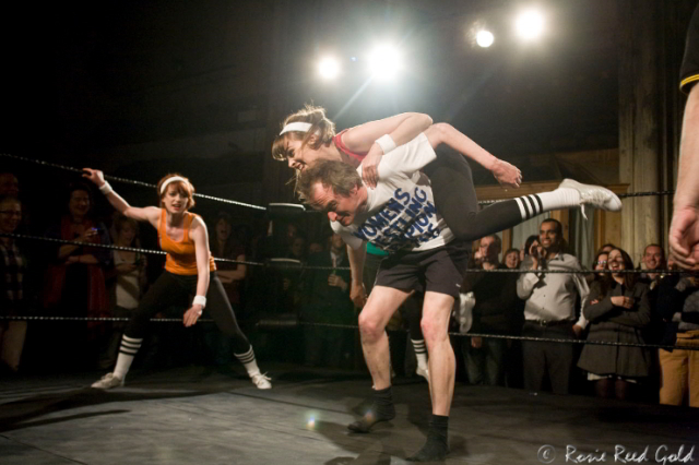 Simon Munnery tackles the Beaux Belles / photo by Rosie Reed Gold