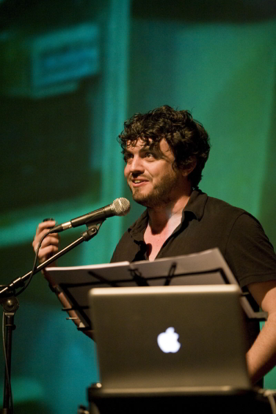 Ross Sutherland voicing his film / photo by Rosie Reed Gold