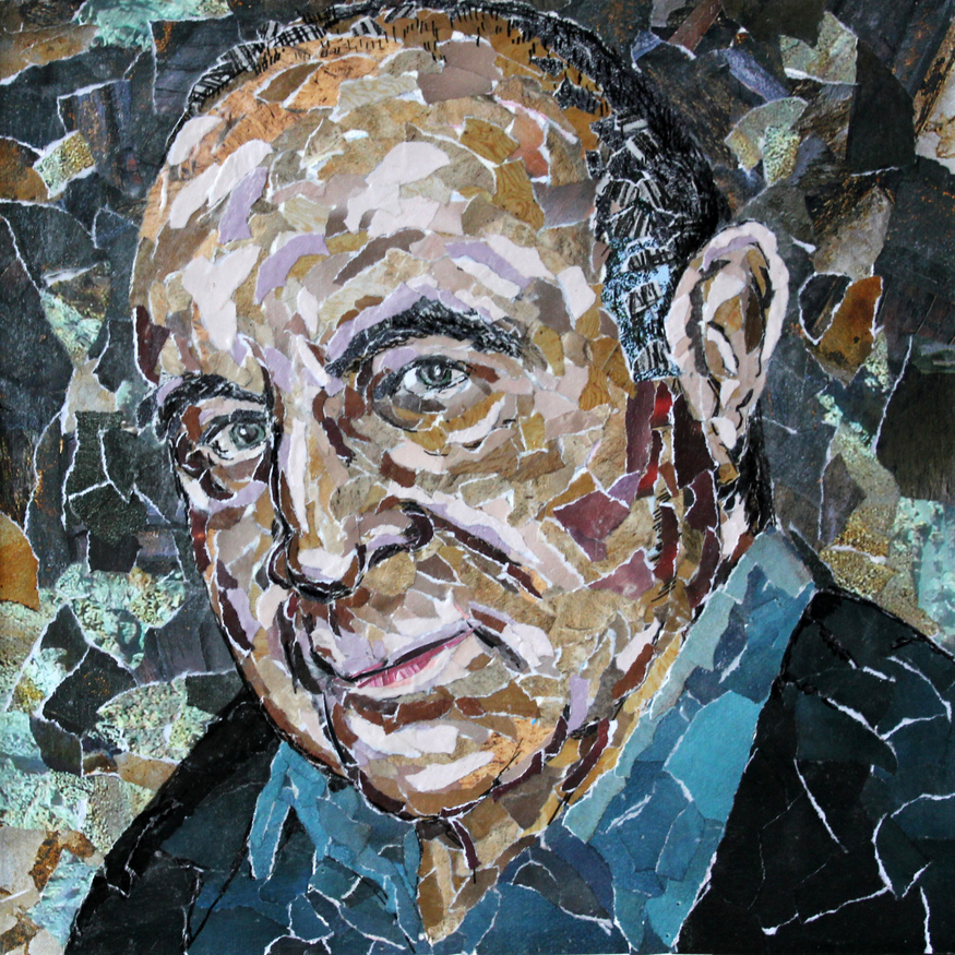 Paper portrait of Bob Hoskins