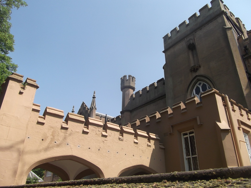 The heavilly castellated Ewell Castle School.