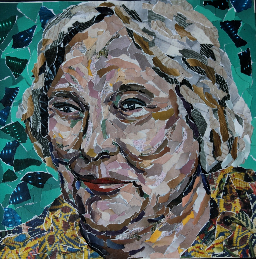 Paper portrait of Fay Weldon