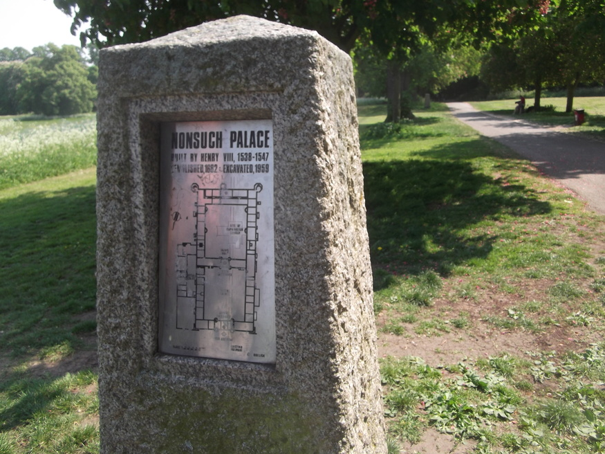 Marker stone showing the former location of Nonsuch Palace.
