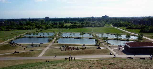 Fishing ponds from the highest mound