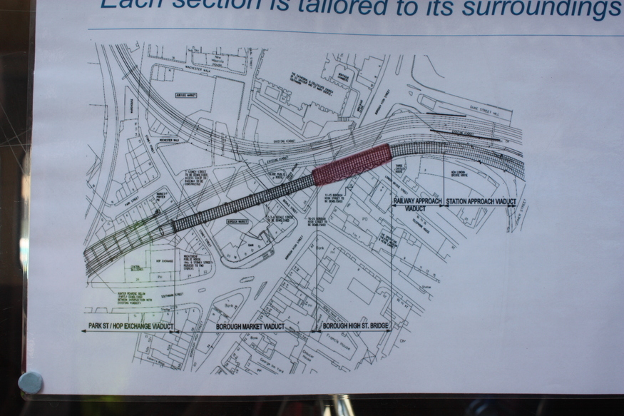 The plan shows where the new Thameslink bridge (in red) is to be positioned