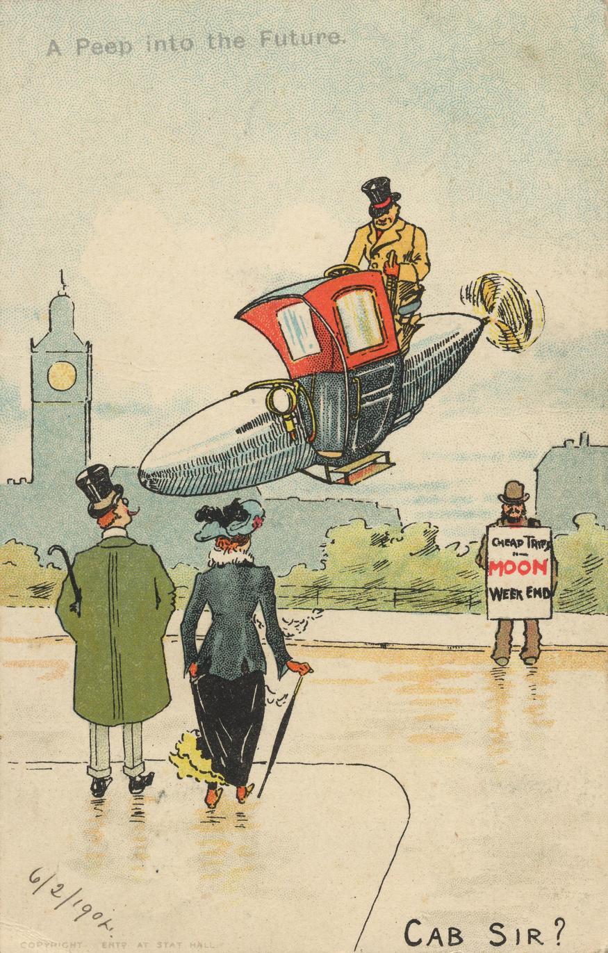 Futuristic taxi airship, Ernst Austerlitz c1904