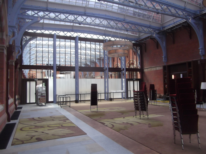 An event space continues the colour scheme of the main station.