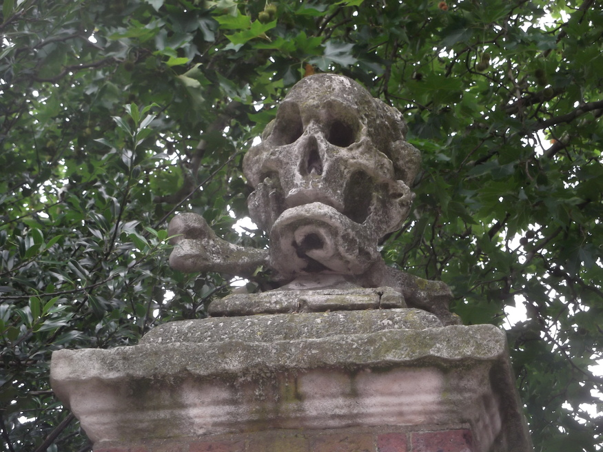 Skull and crossbones outside St Nicholas Church.