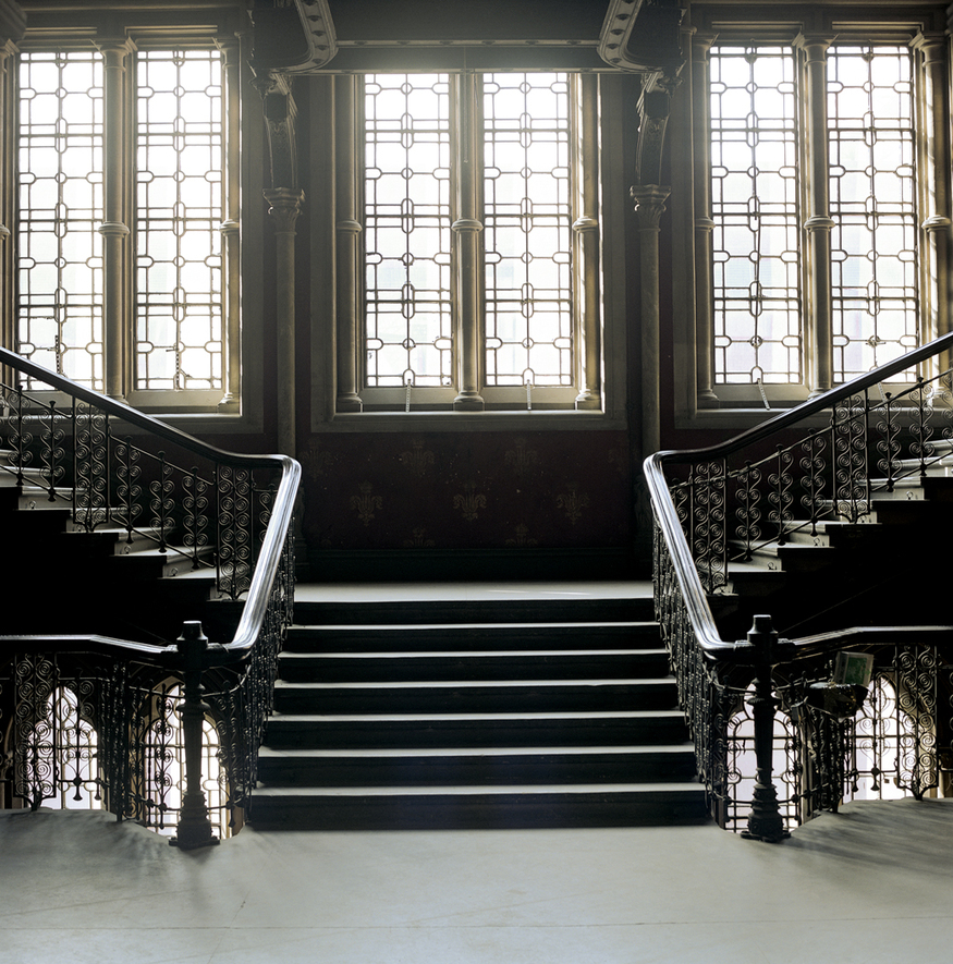 The grand staircase before restoration.