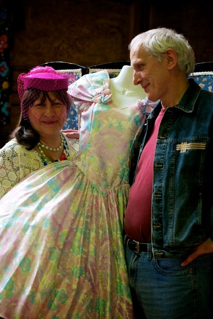 Glow & her partner. Glow's apparently been a mad collector of vintage for many years. She had a big selection which include some of her own items from the 60s and 70s. They both love vintage because it's ecological, the quality is great and it's truly green recycling. They'll be at the next Hertfordshire Vintage Fair on Sunday June 26th in Watford