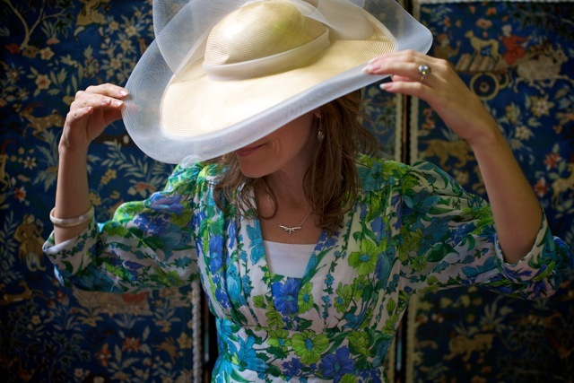 Fi wearing one of Glow's hats.