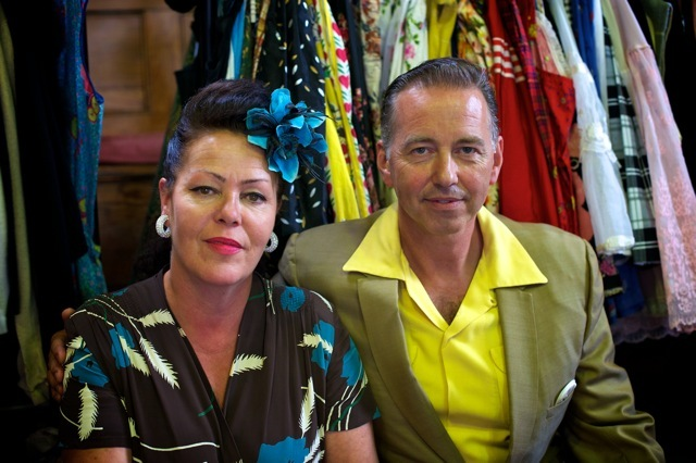 Mickey & Debbie - Rock and Roll! They specialise in the 40s & 50s and Mickey says it's a whole lifestyle for them. They buy most of their pieces directly in the States. For anyone who shares a passion for this era, Mickey's advice is to listen to R&R radio stations for announcements about upcoming events (the Boston Arms in Tufnell Park and Dingwalls have good events throughout the year). Also, the War & Peace Show in Kent.