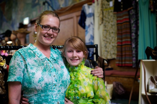 "The amazing mum & daughter team (Nicola & Hannah) from Pret-a-Vintage in Farnham. Nicola is a shopaholic who puts her ""habit"" to good business use because she has fantastic vintage items from 40s to 80s including designer pieces from Biba, Christian Dior and Karl Lagerfield. They attend fairs and markets together but also hold vintage parties (she's getting ready for a private party with 100+ guests in July). Her fantastic, quirky stock is party down to her daughter Hannah (a fashion genius and all round lovely person in the making who wears her vintage clothes to school). What a cool kid!"