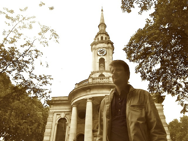 Sean Patterson in front of St Paul's Deptford.