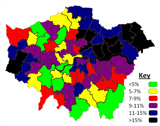 London constituencies, colour coded by the proportion of the adult population without qualifications
