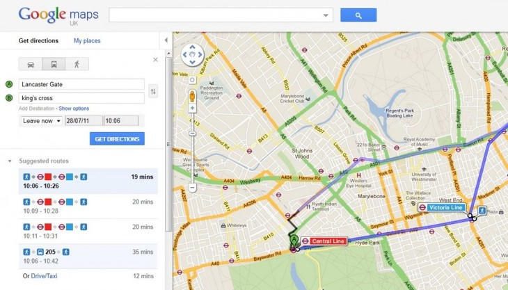 Public Transport Directions On Google Maps | Londonist on bing maps, google docs, google translate, google moon, google latitude, satellite map images with missing or unclear data, google search, google mapa, google livestreet map trinidad, google street view, bing directions, google sky, google mapquest, google voice, map with directions, google goggles, yahoo! maps, custom map directions, maps and directions, google chrome, route planning software, driving directions, google map maker, apple maps directions, google earth, google map from to, get directions, web mapping, mapquest directions, google mars, google calendar, google map request, google map lakeport ca,
