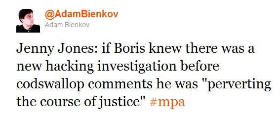 "Jenny Jones: if Boris knew there was a new hacking investigation before codswallop comments he was ""perverting the course of justice"""