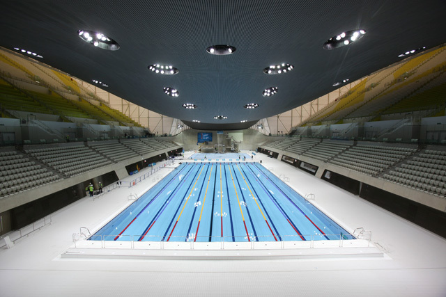 Long view of the Centre. In front is the main pool, with the dive pool behind.