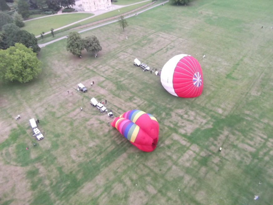 And we have lift-off. A quick ascent in windy conditions leaves our co-balloonists behind.
