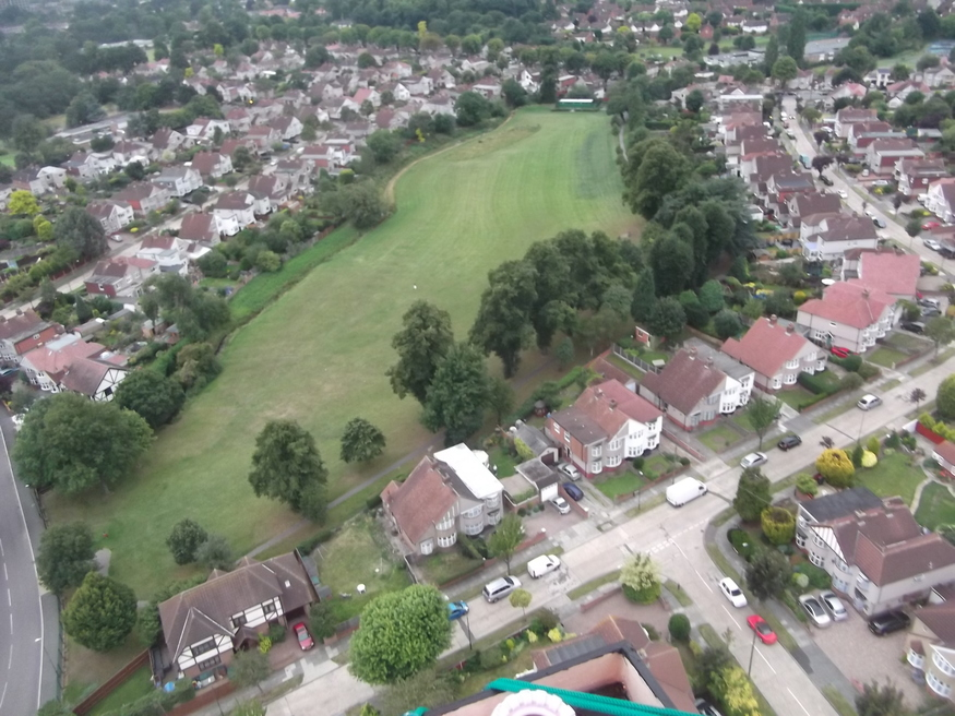 Looking down on Willersley Park. Lots of people waved up at us from the streets below.