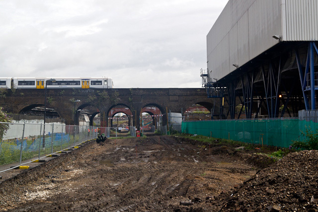 Another view of the arches. The train on top is a Southern service heading into central London.