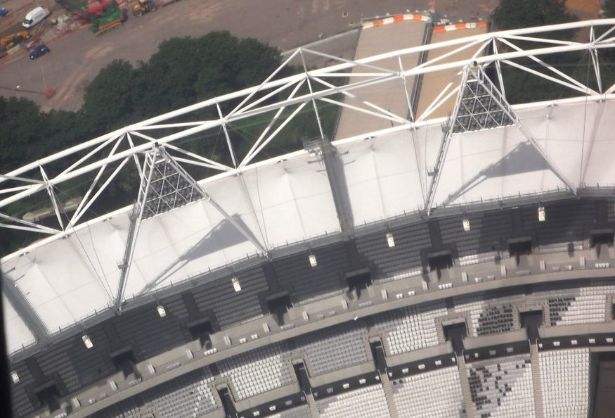 A vertiginous view of the main Olympic stadium.