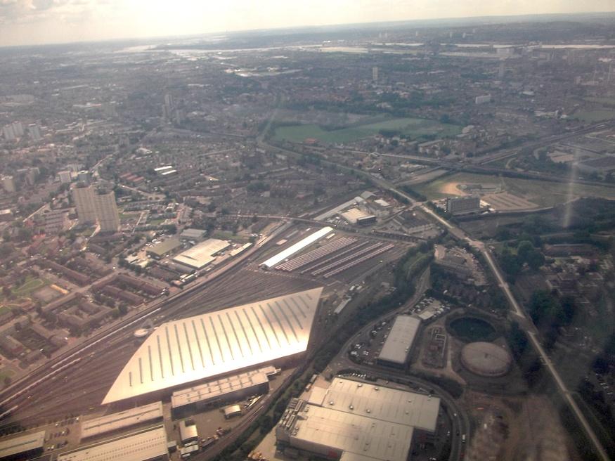 Stratford's Jubilee Line depot's distinctive shape.
