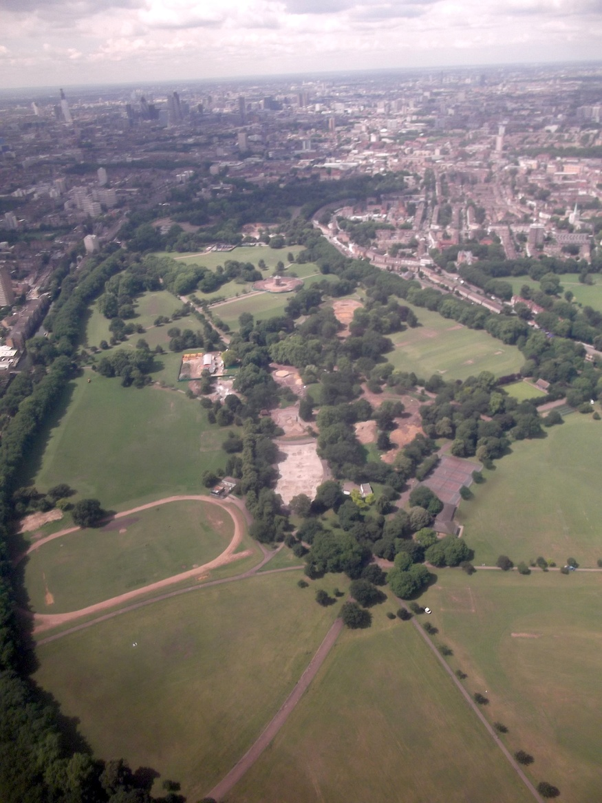 Victoria Park looks like an almost literal 'green lung' from above.