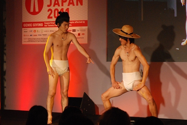 Comedy duo JaruJaru demonstrating sumo shiko / photo by Tom Royal