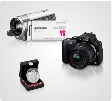 A couple of the new cameras we used and a commemorative Olympic coin from Panasonic.
