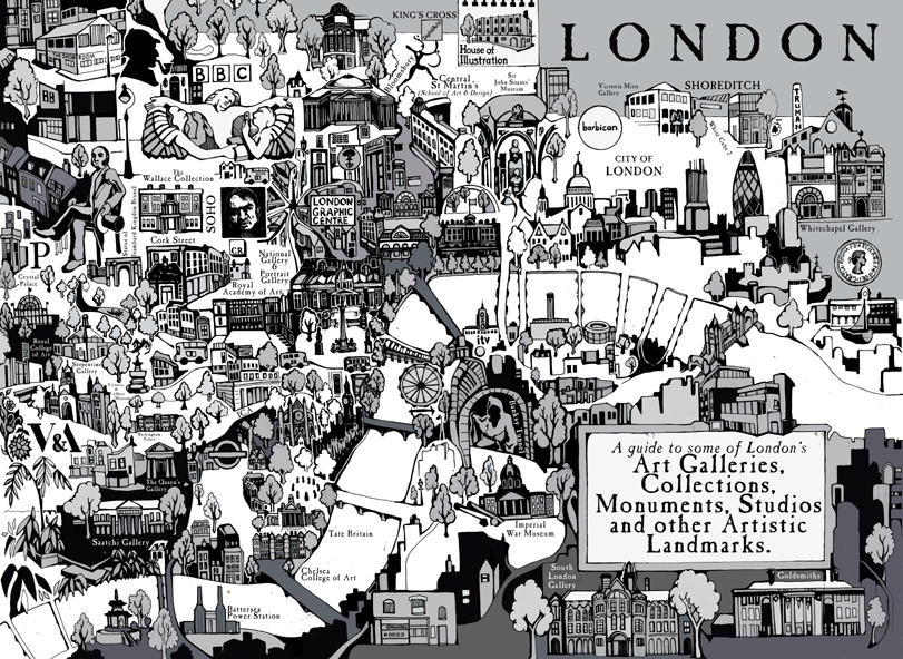 A map of London's art galleries.