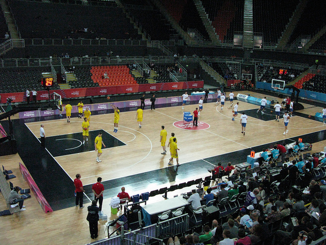 Australia and Serbia warm up. Photo / Duncan Young